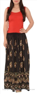 Skirts & Scarves Self Design Women's A-line Black Skirt