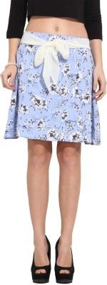 Albely Floral Print Women's Regular Blue Skirt