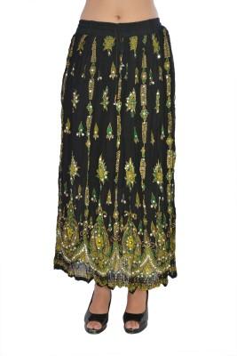 Jaipur Kala Kendra Printed Women's Straight Black Skirt