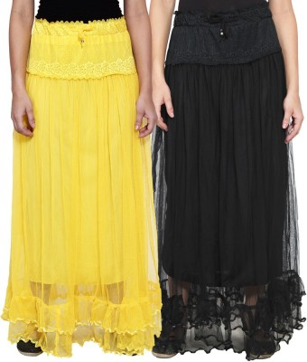 NumBrave Self Design Women's Layered Yellow, Black Skirt