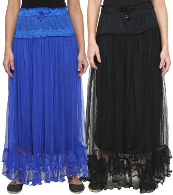 NumBrave Self Design Women's Layered Blue, Black Skirt