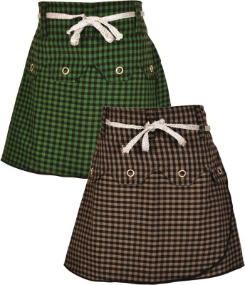 Gkidz Checkered Girl's A-line Grey, Green Skirt