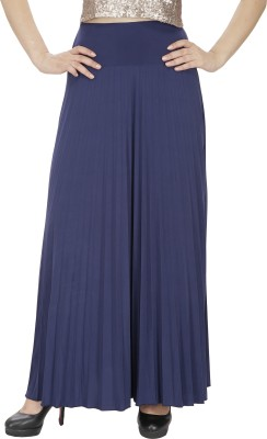 FASHMODE Solid Women's Pleated Blue Skirt