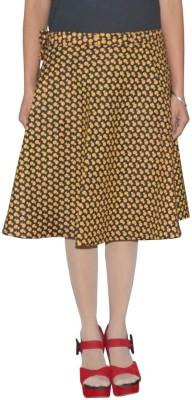 Shreeka Printed Women's Wrap Around Black, Yellow Skirt
