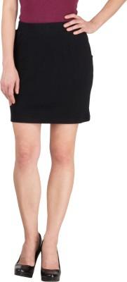 Hypernation Solid Women's Pencil Black Skirt
