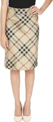 Ragdoll Checkered Women,s A-line Gold Skirt