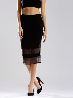 Dressberry Solid Women's Pencil Black Skirt