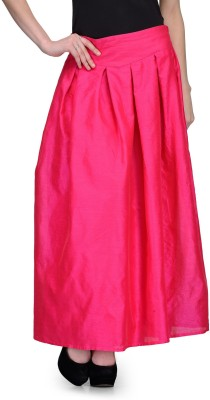 Natty India Solid Women,s Pleated Pink Skirt