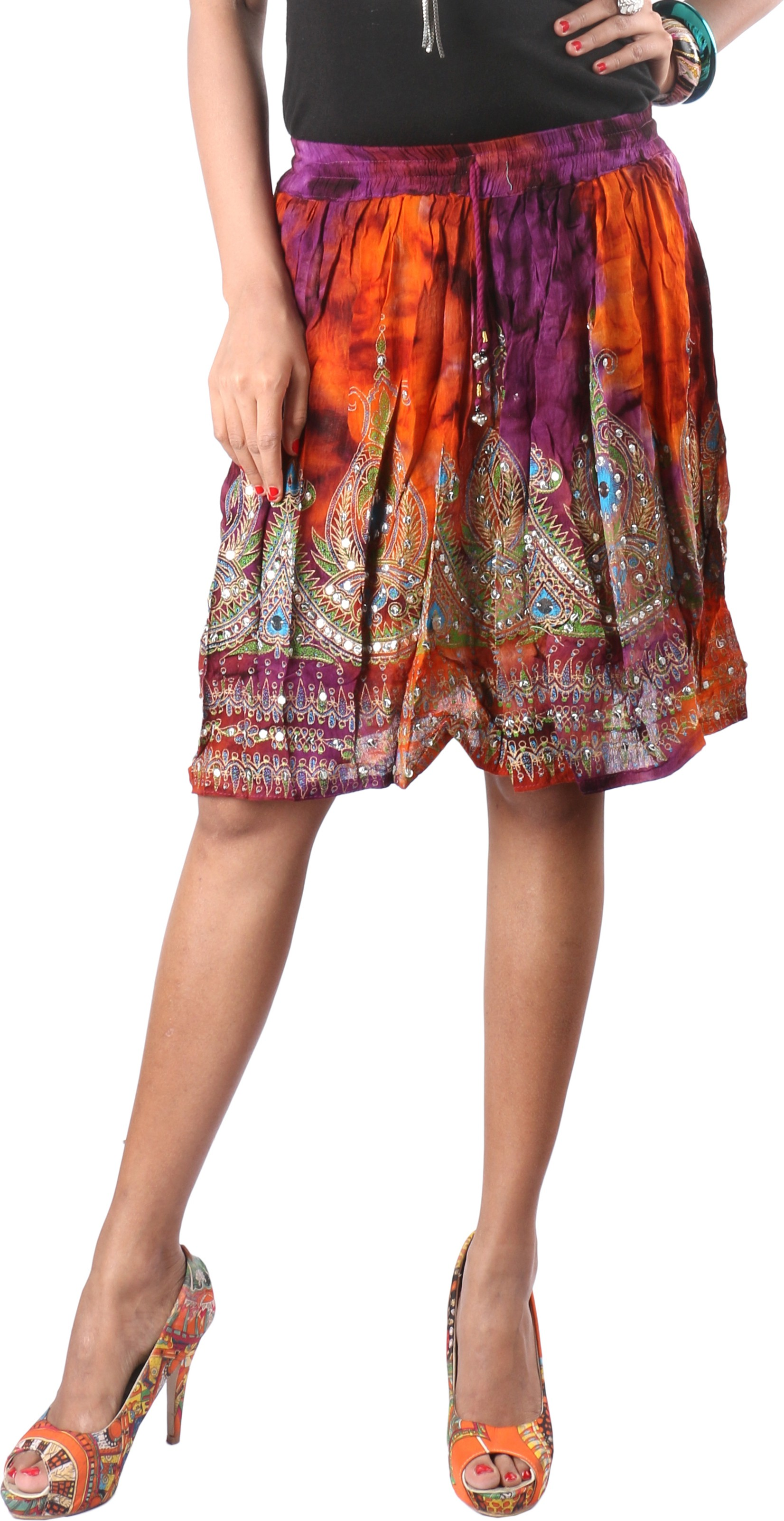Indiankala4u Printed Womens Broomstick Multicolor Skirt