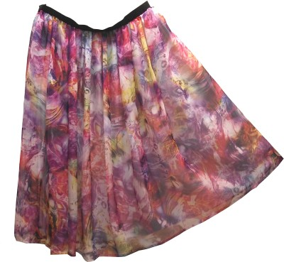 Postcard Graphic Print Women's Gathered Multicolor Skirt