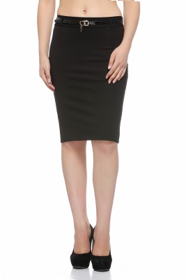 Fasnoya Solid Women's Pencil Black Skirt