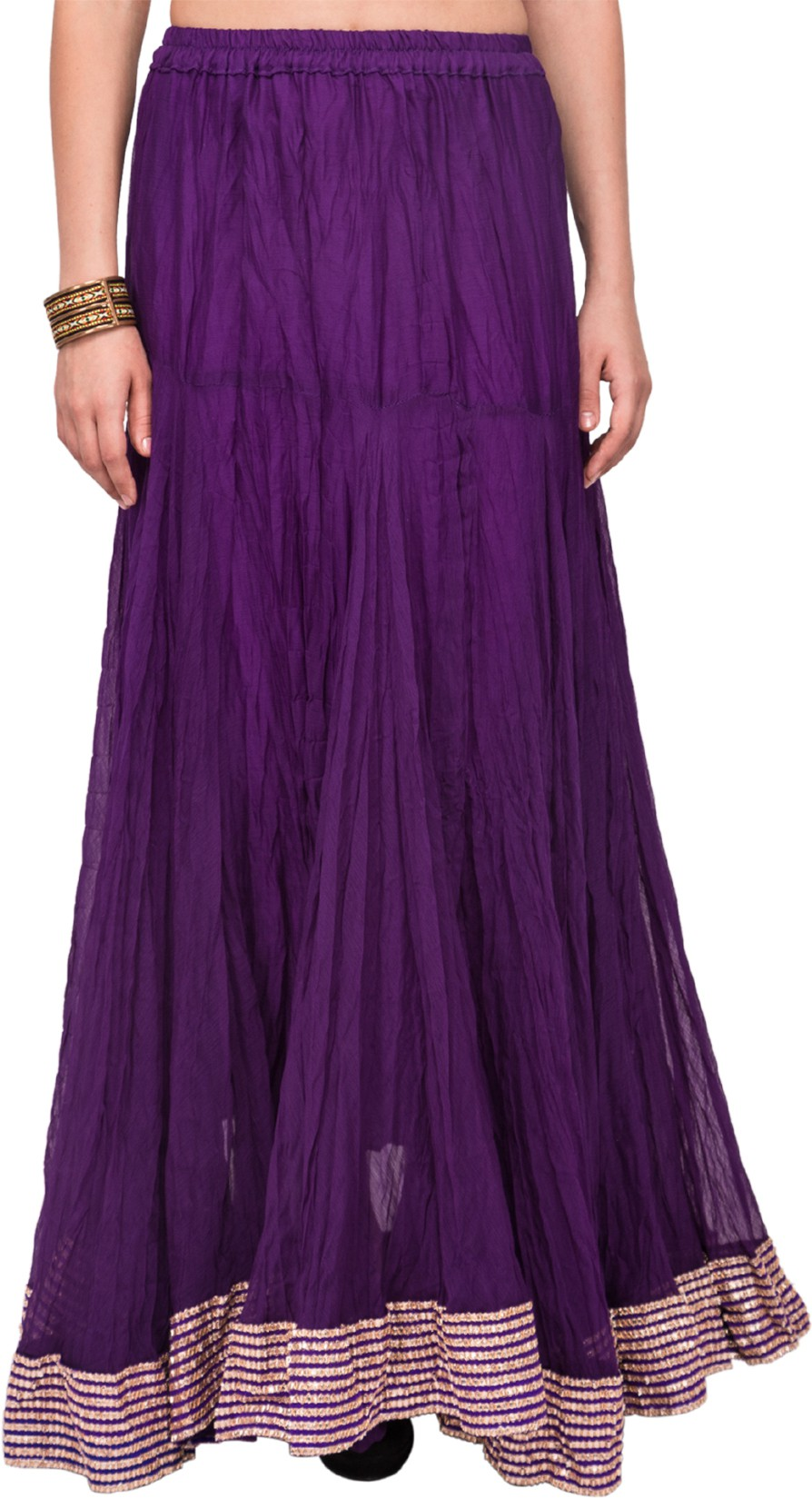 Mina Bazaar Solid, Self Design Womens A-line Purple Skirt