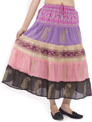 Goodwill Impex Printed Womens A-line Pink Skirt
