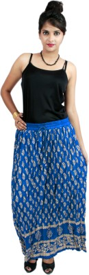 El Sandalo Printed Women's Broomstick Blue Skirt