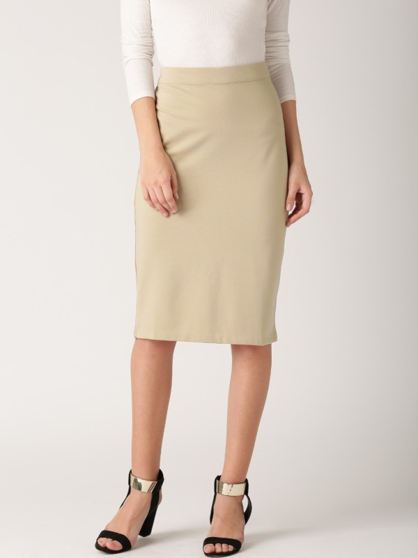 Dressberry Solid Women's Pencil Brown Skirt