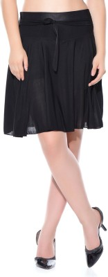 Style Gravity Solid Women's Pleated Black Skirt at flipkart