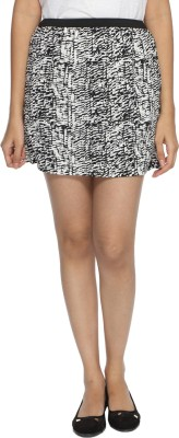 Francisca & Dominique Printed Women's Regular Black, White Skirt