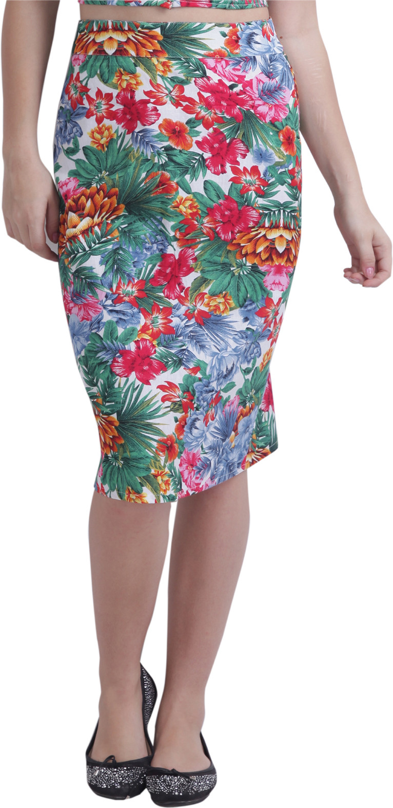 Ridress Floral Print Womens Pencil Multicolor Skirt