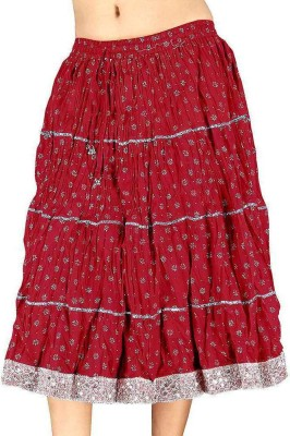 Indiangiftemporium Printed Women's Regular Red Skirt