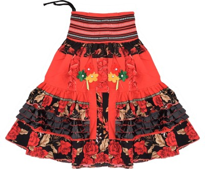 Adaab Floral Print Girl's Layered Red Skirt