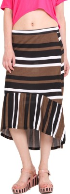 Studio West Striped Women's Regular Brown Skirt