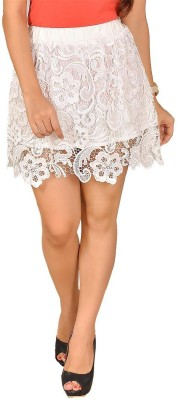 LGC Embroidered Women's Asymetric White Skirt