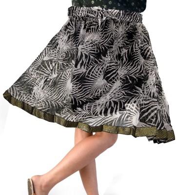 Jaipur Raga Floral Print Women,s Regular Black Skirt