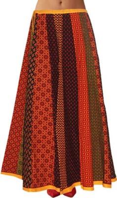 Shreeka Printed Women's Straight Red, Yellow Skirt