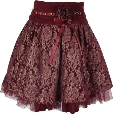 Cutecumber Solid Baby Girl's A-line Maroon Skirt