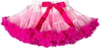 Pink Wings Solid Girl's Gathered Multicolor Skirt
