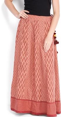 Folklore Printed Women,s Straight Orange, Black Skirt