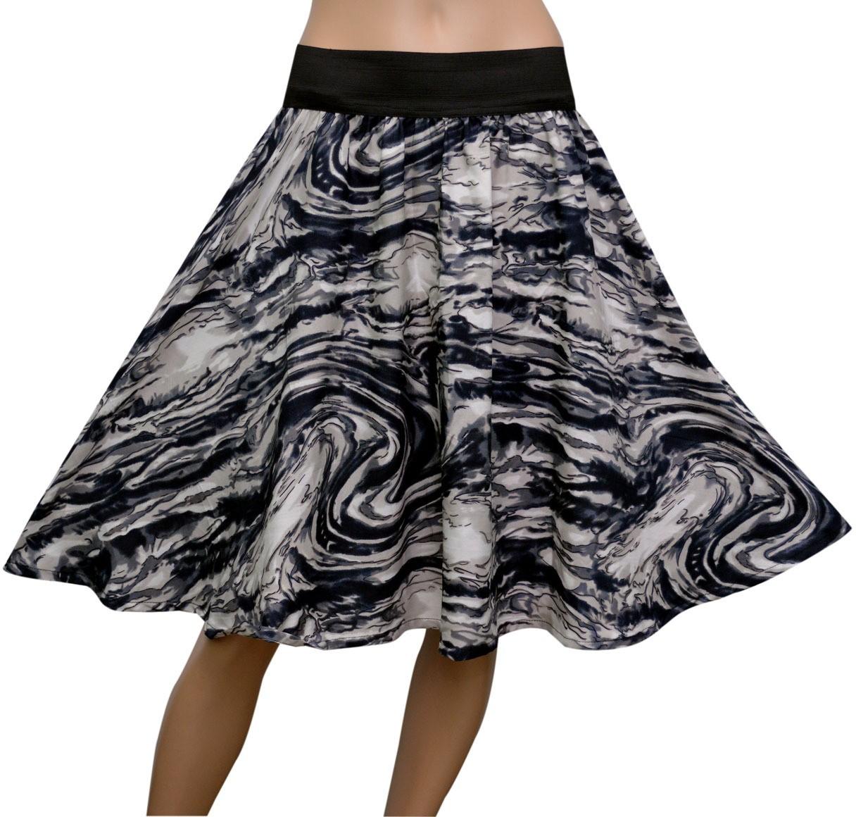GraceDiva Geometric Print Womens Gathered Grey Skirt