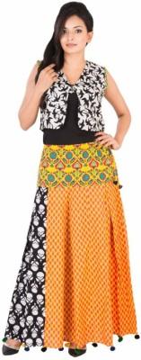 BigCart Printed Women's Regular Black, Yellow Skirt