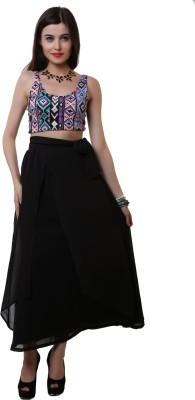 Belle Fille Solid Women's Tiered Black Skirt