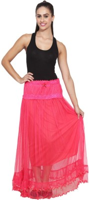NumBrave Self Design Women's Layered Pink Skirt