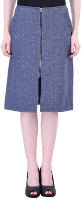 Oxolloxo Solid Women's A-line Blue Skirt at flipkart
