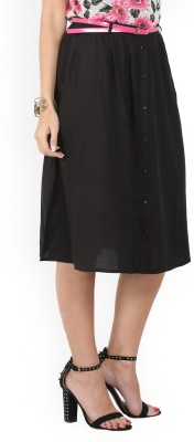 Max Solid Women's A-line Black Skirt