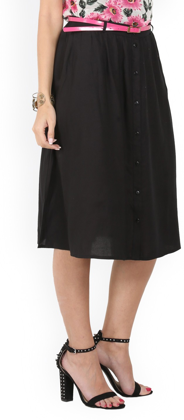 Max Solid Womens A-line Black Skirt