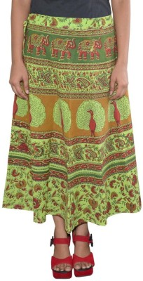 Shreeka Printed Women's Wrap Around Green, Brown Skirt