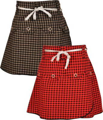 Gkidz Checkered Girl's A-line Grey, Red Skirt