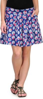 Kiosha Printed Women's Regular Blue Skirt