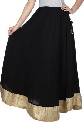 Fashion Hut Self Design Women's Regular Black Skirt