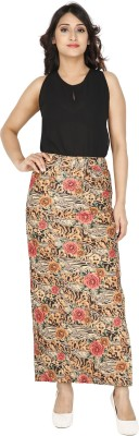 Franclo Floral Print Women,s Pencil Yellow, Red Skirt
