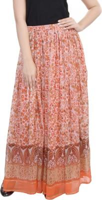 Goodwill Impex Printed Women's Straight Orange Skirt