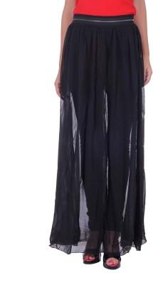CHKOKKO Solid Women's Straight Black Skirt