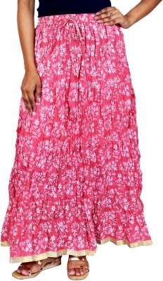 Rangreja Floral Print Women's A-line Pink Skirt