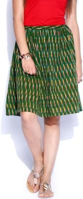 Anouk Printed Women's A-line Green Skirt