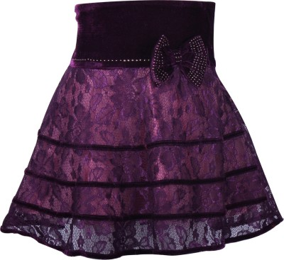 Cutecumber Embellished Girl's A-line Purple Skirt