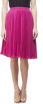 Peptrends Solid Women's Regular Pink Skirt