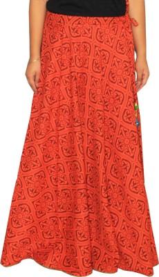 Chhipaprints Printed Women's A-line Orange Skirt